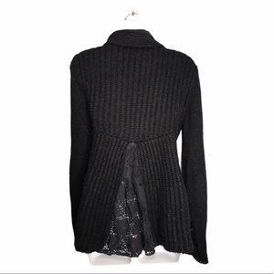 Snooki Love | Black Knit Cardigan W/ Lace Back